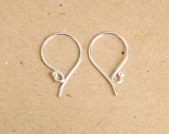 5 pairs, 10 pieces: sterling silver ball end ear wires, medium size 12mmX19mm, 22 gauge, bright finish
