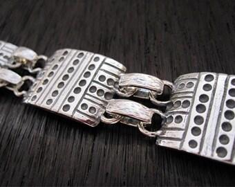 Artisan Dotted Link Sterling Silver Statement Bracelet