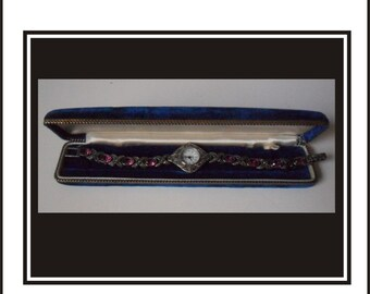 Vintage Pierre Nicol Marcasite And Amethyst Watch