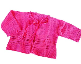 Sale - Crochet baby sweater, cotton  baby sweater, cyclamen baby sweater, summer baby clothes , Ready to Ship