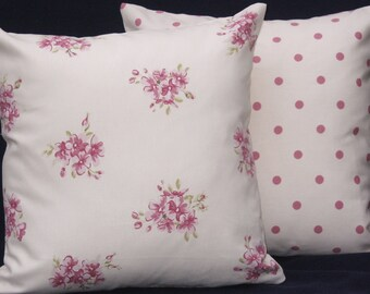 "Two 16""  Cushion Covers, Pillow Covers, Cream Floral Clusters backed with Cream Polka Dot"