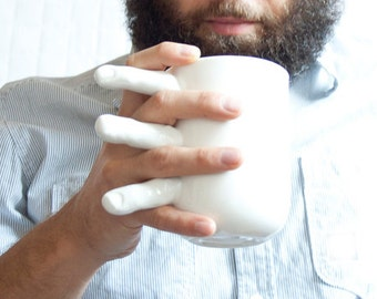 Tea Mug with Fingers, Porcelain Coffee Mug with Fingers, Big Ceramic Mug, Quirky Mug