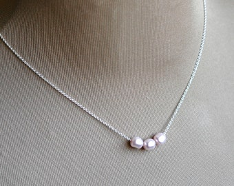 Pearl Necklace Sterling Silver with Pink Pearls, Kristin Noel Designs