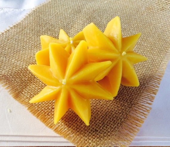 Beeswax Floating Star Candles, Set of 3