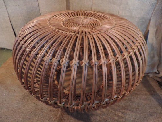Reserved Franco Albini Rattan Pouf Stool Ottoman Wicker Poof