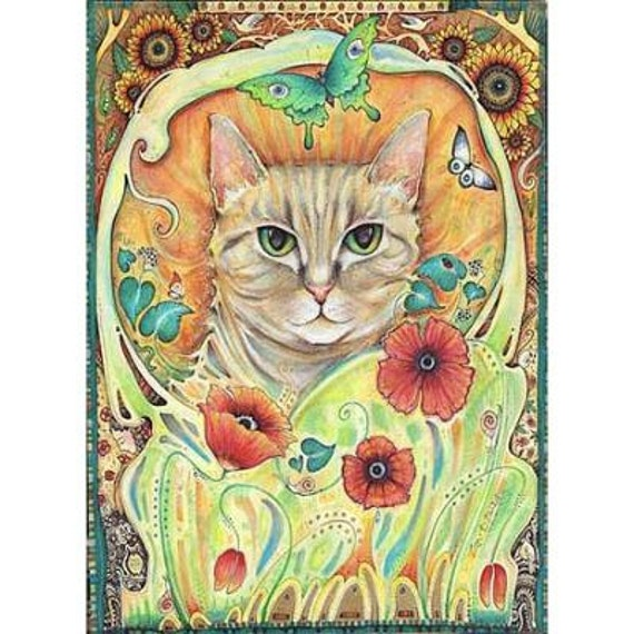 Coquelicot art nouveau original chat peinture art aquarelle