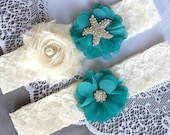 Wedding Garter Bridal Garter Set TURQUOISE BLUE Lace Garter Set Ivory Rhinestone Crystal Starfish Garter Beach Wedding GR121LX