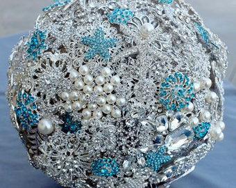 10 Inches Bridal Wedding Rhinestone Brooch Bouquet - Ready To Ship - Teal Blue Starfish - Beach Wedding - BB061LX