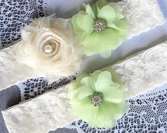 Wedding Garter Set Bridal Garter Set LIGHT GREEN Lace Garter Set Ivory Rhinestone Crystal Lace Garter GR127LX