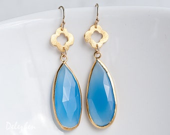 Blue Chalcedony Earrings - Blue Gemstone Earrings - Four Leaf Clover earrings - Gold Earrings - Long Drop earrings