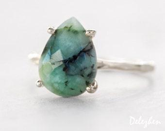Green Raw Emerald Ring Silver - May Birthstone Ring - Gemstone Ring - Stacking Ring - Silver Ring - Tear Drop Ring - Prong Set Ring