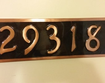 Real patina copper  House plaque 5 numbers