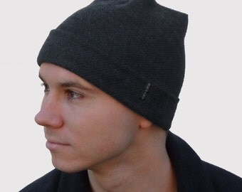 Brainy Guy Men's Beanie with Storm Flap Cuff in Black Cashmere Blend Knit, Soft and Stretchy, Packs Flat for Travel