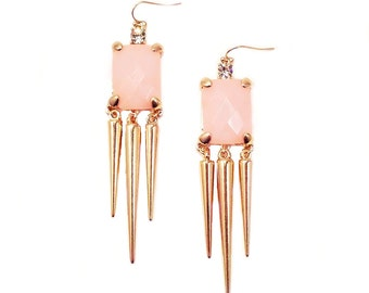 Statement Geometric Spike Earrings with Dusty Pink Faceted Crystal Glass Boho Chic High Fashion Fall Winter 2016 Fashion