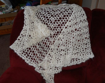 Beautiful Hand Crocheted Lacy Triangular White Mohair Shawl With A Crocheted Edging, 72 inches Across