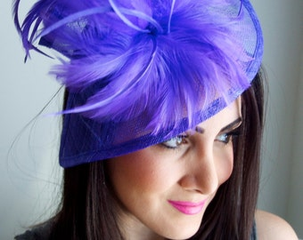 """Violet Purple Fascinator - """"Victoria"""" Twist Mesh Fascinator embellished with Fluffy Feathers on a Headband"""