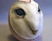Owl Totem Rattle Ceramic Altar Ornament Barn Owl Spirit Rattle Fetish