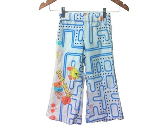 Pacman Cotton Printed Gender Neutral Toddler Pants Bellbottoms size 2T