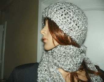 Scarf and Hat Set  Silver/Gray  Scarf Set Ready to Ship