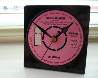Desk Clock CAT STEVENS 1970s Music Upcycled Vinyl Record Clock 7 inch Single