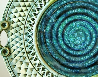 "Made to Order....Large 14"" Platter / Handmade Pottery / Blue Pottery / Textured"