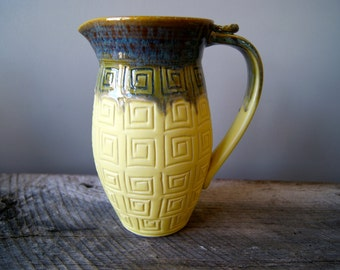 FREE DOMESTIC SHIPPING... Ceramic Pitcher, Handmade Wheel Thrown Pottery, Frosted Honey and Butter Glaze by RiverStone Pottery