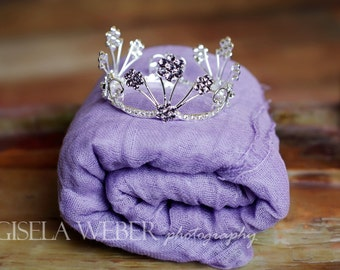 Baby Girl Props, Lilac Cheesecloth, Newborn Wrap, Silver Baby Crown, Baby Halo, Lilac Newborn Crown, Newborn Photo Prop, Crown Wrap Set