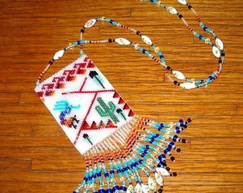Kokopelli Necklace, Amulet Bag, Native American Inspired, Southwestern, Hand Made in the USA