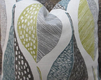 SALE Designer Pillow Cover - Lumbar, 16 x 16, 18 x 18, 20 x 20, 22 x 22, Euro - Woodblock Leaf Rain