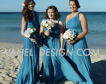 TEAL Blue Bridesmaid Dress - INFINITY Bridesmaids Dress  Custom Designed CONVERTIBLE Bridesmaids Dress - color # 81