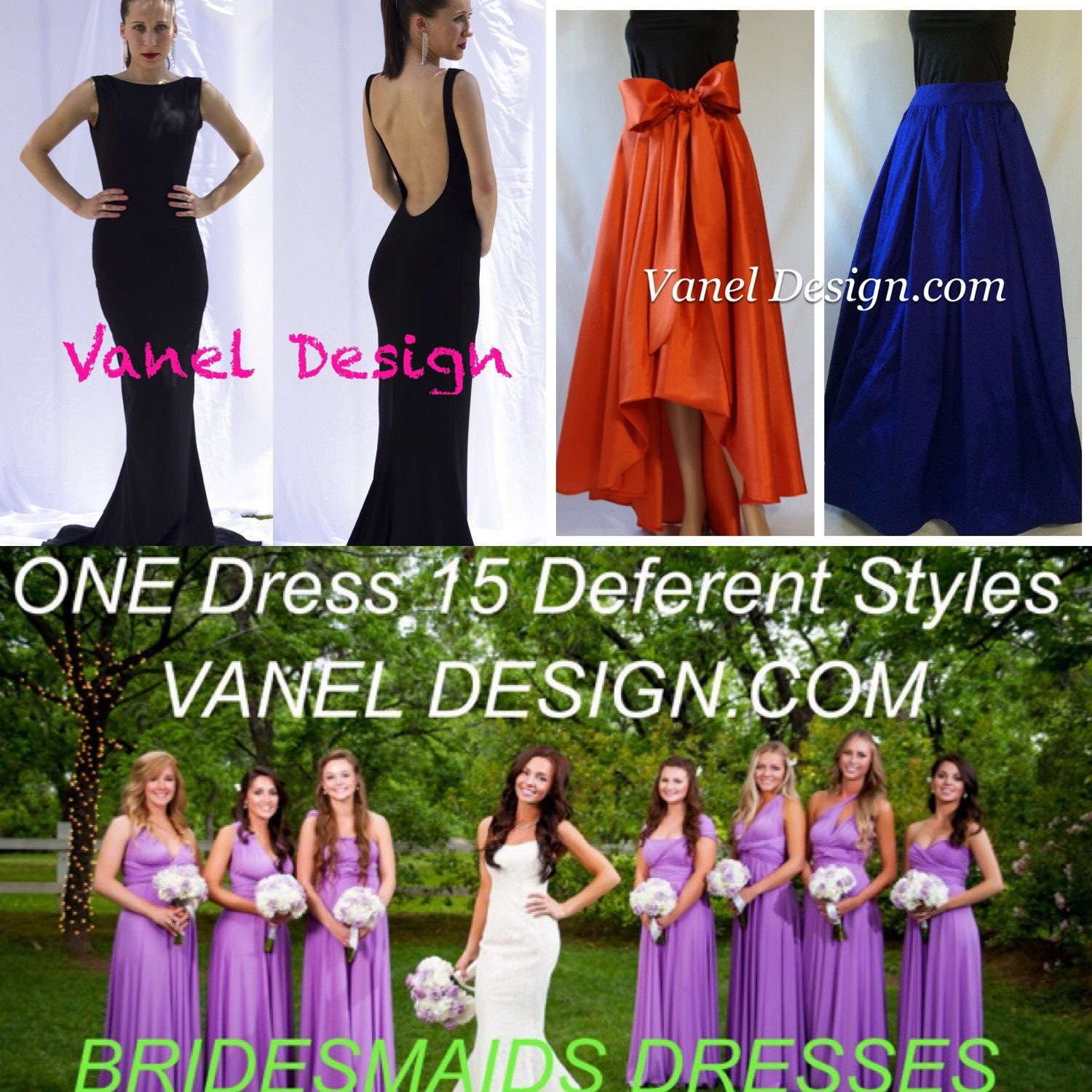 Bridesmaid Dress Infinity Convertible Formal Cocktail Mermaid