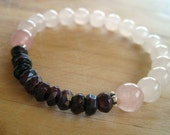 SALE all items 25OFF for 25% off Rose Quartz Bracelet Garnet and Sterling Silver Accent Beads Stretch Bracelet