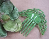 Art Deco Hair Comb Green Faux Jade Spanish Comb Hair Accessory Hair Slide Hair Pin Hair Pick Headdress Hair Jewelry Hair Ornament