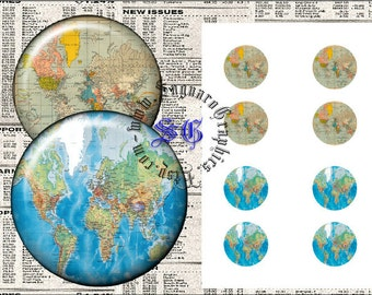 World Map - Digital Collage Sheet sg530 - 1.0 inch Circles for Pendants, Cabochons, Bottle Caps, Arts & Crafts