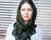 Crochet PATTERN leaves snood cowl women neckwarmer, woman loop scarf , DIY tutorial,  Instant download