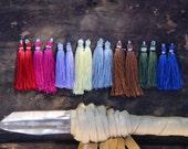 """Art Silk Tassels from India, Primary Fall Mix, Bright Bold Jewelry Making Tassels, Bohemian Craft Supplies, Mala Tassels, 2"""", 16 pieces"""