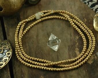 "African Brass Round Seam Beads 3.5x2.5mm (Ethiopia) / Spacer Beads / Non-Tarnish Golden Metal Jewelry Making, Craft Supplies / 30"" strand"