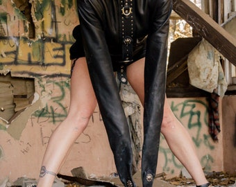 Black Leather Studded Straight Jacket