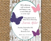 Butterfly Shower, Butterfly Invitation, Baby Shower Invite, Baby Girl Shower, Baby Girl, Baby Shower, Butterfly Party, Shower Invite