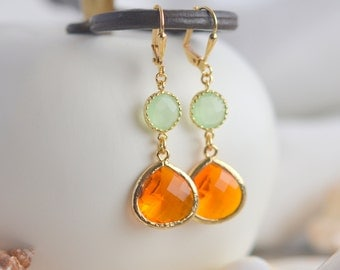 Dangle Earrings. Orange Teardrop and Mint Stone Dangle Earrings. Fashion Earrings. Mint Orange Bridesmaid Earrings. .