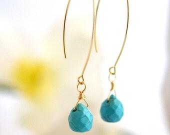 Simple Turquoise Drop Earrings. Dangle Earrings. Long Drop Earrings. Turquoise Jewelry. Bridesmaid Gift.  Wedding Jewelry. Bridal Jewelry.