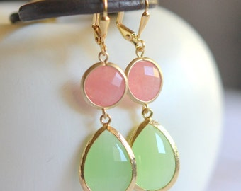 Coral Pink and Mint Dangle Earrings in Gold. Statement Earrings. Drop Earrings. Coral Dangle. Bridal Party Gift.  Bridesmaid Earrings.