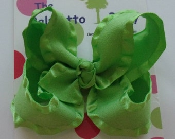 SALE  Green Ruffle Ribbon Hair Bow