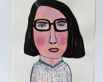 Original acrylic portrait painting // ink drawing // original art on paper // LEE 1