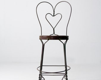 vintage ice cream parlor chair, heart back tall stool