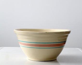 """vintage McCoy bowl, 12"""" Bowl, Pink & Blue Stripe"""