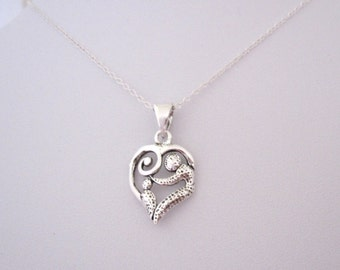 925 Sterling Silver FAMILY Mother and child pendant with necklace chain