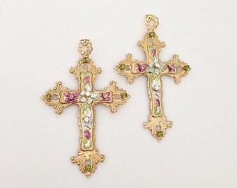 Italian Designer Inspired Earrings - Large Ornate Gold Filigree Byzantine Cross Earrings