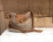 XL Boho Tote for Overnight or Beach Days Out.  Leather and Handweave Boho Style -  Turnlock Buckle - Made to Order