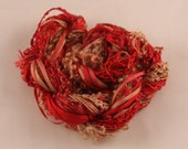 Deep Red Copper brown Silk embroidery Thread Silk ribbon Hand Dyed sewing weaving supplies doll hair embellishment jewellery supplies